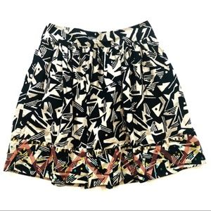 Odille Black & Cream Printed Sequin Accent Skirt